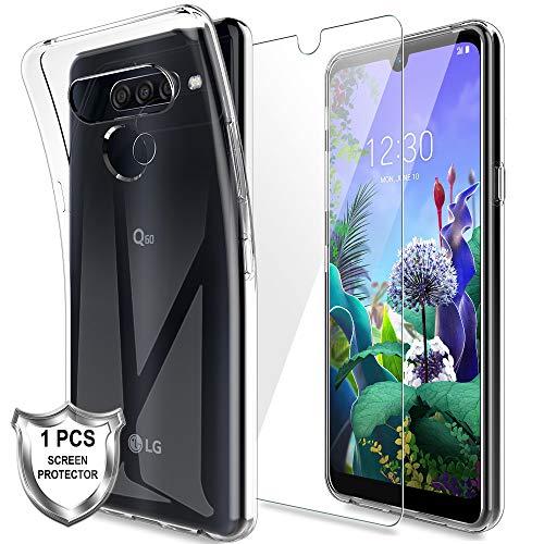 MP-MALL LK Compatible con LG Q60 Funda con 1 Pack Protector de Pantalla Vidrio Templado, HD Transparente Carcasa Ultra Fina Suave TPU Silicona Gel Case Cover - Clara