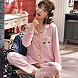 MDHDSY 100% Cotton Pajamas Set Print Long Sleeve Pyjama Loose Size Shirt Stitch Female Sleepwear XXXL Style 8