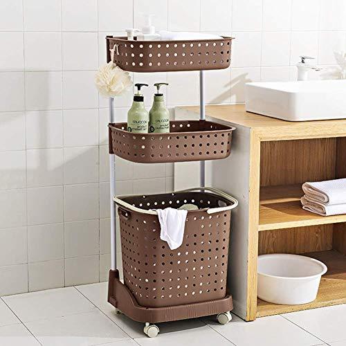 DoubleBlack Carrello Portabiancheria Multifunzionale in Plastica a 3 Strati Grande per Vestiti da Bagno e Contenitore di Giocattoli, Marrone