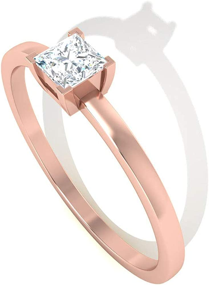 Unique 0.25 CT Diamond Solitaire Engagement Ring, Simple IGI Certified Princess Diamond Promise Ring for Her, Women Wedding Bridal Anniversary Ring, Valentine Day Gift, 14K Rose Gold,Size:US 7.0