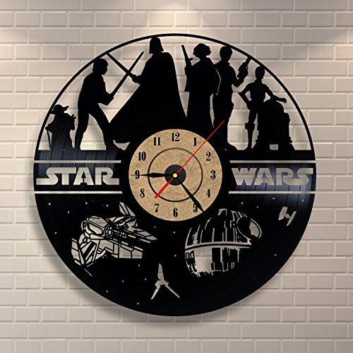 Wanduhr aus Vinyl, Star Wars, Schwarz