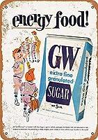 砂糖はエネルギー食品錫サインヴィンテージノベルティ面白い鉄の絵の金属板