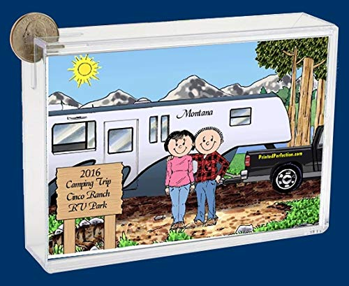 Personalized Friendly Folks Cartoon Caricature Bank: RV Lovers – Fifth Wheel Trailer