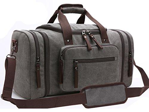 Aidonger Unisex Canvas Groß Reisetasche Großräumige Handtasche Sporttasche Schultertasche Handgepäck für Damen und Herren (Grau)