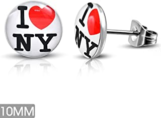 10mm | Stainless Steel 4-tone Heart I Love NY Circle Stud Earrings (pair) - LEB460