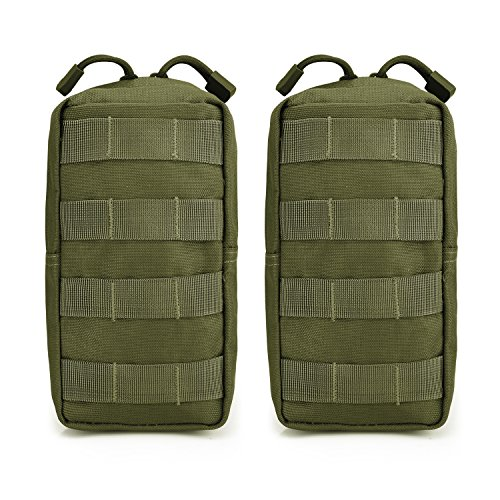 G4Free Zwei Set Taktische Molle Taschen Kompakte Praktische Rucksack Zusatztaschen Zubehörtteil an Der Taille oder Brust Getragene Tasche für Outdoor Sport Camping Wandern und Trekking