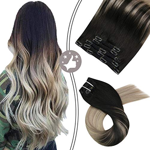 Moresoo 14 Inch 100 Real Remy Clip on Hair Extensions Balayage Ombre Color Black Fading to Ash Blonde #18 Highlihted with Platinum Blonde #60 Full Head Clip On Hair 70G/5PCS