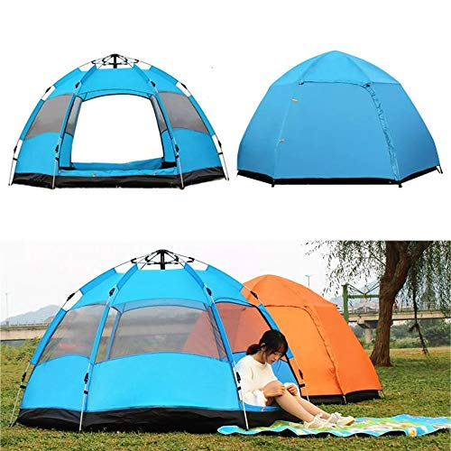PN-Braes Family Tent Pop Up Tent Outdoor Camping Tent Playhouse 5-8 People Instant Large Tent Waterproof Outdoor Family UV Sunshade Shelter Pop-Up Tents (Color : Blue, Size : 94.5 x 94.5 x 51.2inch)