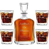 Murrano Whiskey Karaffe + 4er Whiskygläser Set mit Gravur - 700ml Whisky Dekanter - Geschenk zur Hochzeit für Paar - Familie