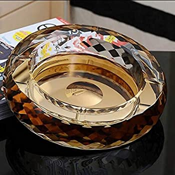 JIGUANG Cigar Ashtray Surrounded by A Diamond-Shaped Round Glass Ashtray The Bottom Can Be Customized Logo Ashtray  Color   Black Size   S ,Size S,Colour Gold 烟灰缸  Color   Gold Size   X-Large
