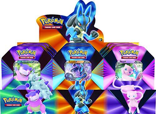 Pokémon POK80840-D6 TCG: V Forces Tin-Lucario V, Galarian Slowbro V o Mew V (uno al Azar), Colores Mezclados