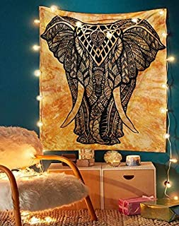 Elephant Tapestry - Small Hippie Mandala Wall Hanging Tapestries Tie Dye Decorative Tablecloth Perfect Christmas Home Decor Art College Dorm Cover Yoga Mat - 50
