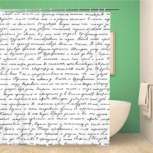 Awowee Decor Duschvorhang Pink Handschrift Text Buch Buchstaben Old Script Cursive Pen 180 x 180 cm Polyester Stoff Wasserdicht Badevorhänge Set mit Haken für Badezimmer, Polyester, Color 1, 180x200cm