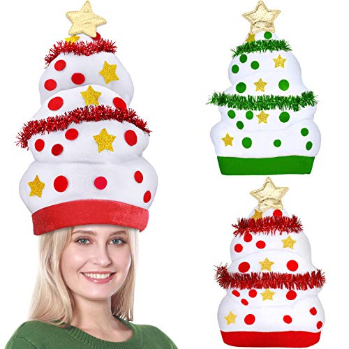 Camlinbo 2 Pack Plush Christmas Santa Hat Ugly Funny Christmas Tree Hat for Kids Adults