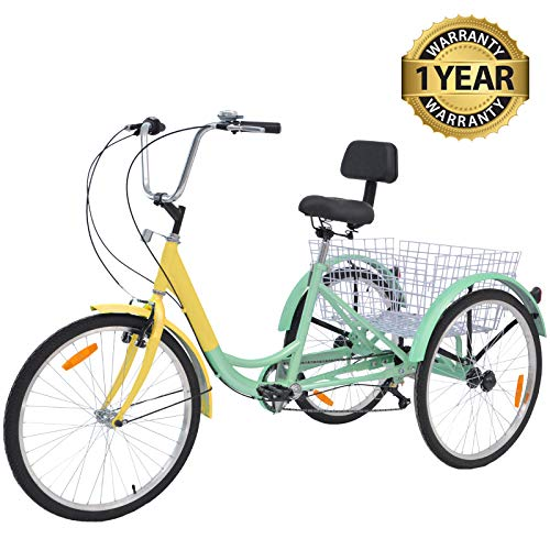 "Slsy Adult Tricycles 7 Speed, Adult Trikes 24/26 inch 3 Wheel Bikes, Three-Wheeled Bicycles Cruise Trike with Shopping Basket for Seniors, Women, Men. (Cyan-Yellow, 26"" Wheels/ 7-Speed)"