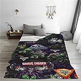 Hot Wheels Grave Digger Monster Jam Truck Merchandise Blanket Throw Soft Light Cozy Fleece Blankets All Seasons Room Bed Sofa Blanket Quilt Decor Tapestry for Teens Boys Girls 60'x50' in
