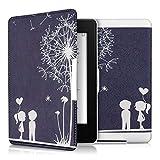 kwmobile Hülle kompatibel mit Amazon Kindle Paperwhite - Kunstleder eReader Schutzhülle Cover Case (für Modelle bis 2017) - Pusteblume Love Weiß Dunkelblau