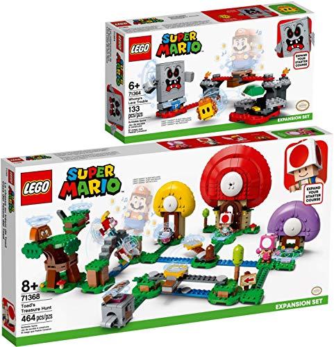 lego super mario 71368 Bundle Lego® Super Mario™ Set di 2 Pezzi 71364 71368 Guai con la Lava di Womp + La Caccia al Tesoro di Toad