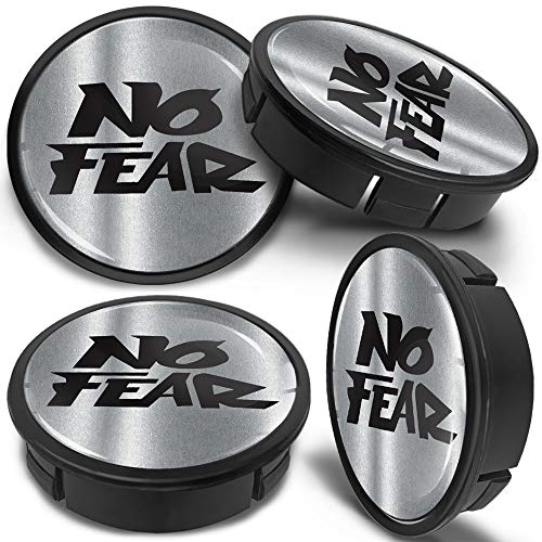SkinoEu 4 x 60mm Universal Tapas de Rueda de Aleación Centro Centrales Tapacubos para Llantas Coche Tuning Negro Plata No Fear CX 17