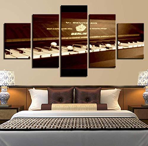 ZAQH Home Nacht Hintergrund Dekor Wanddrucke Leinwandbild 5 Stück Partitur Klavier Stillleben Malerei Kunstwerk Rahmen Poster