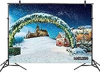 新しい冬のクリスマスの背景7x5ftクリスマスリースボール雪の城写真の背景家族の休日のパーティー用品装飾子供大人の肖像写真ブースの小道具