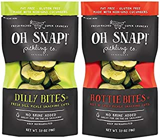 Oh Snap! Fresh Pickle Bites Dill & Hottie Variety Pack, 3.5 oz, Pack of 12
