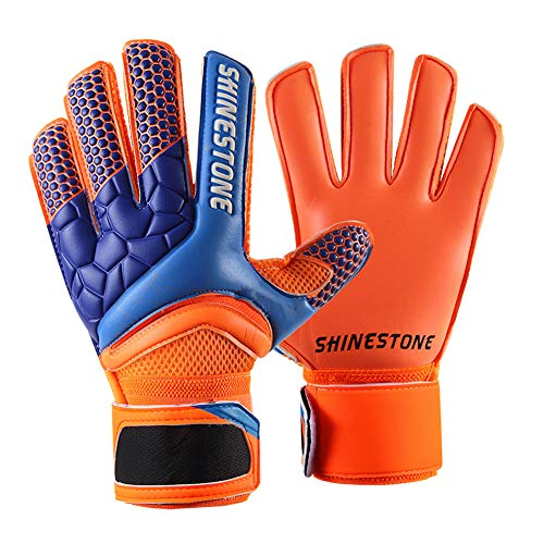 Shinestone Goalkeeper Goalie Gloves, Youth Adult Kids Soccer Football Goalkeeper Goalie Gloves with Strong Grip and Finger Protection to Prevent Injuries(Orange,Child Size 7)