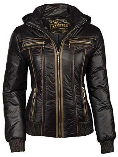Trisens Damenjacke ÜBERGANGJACKE Biker Jacke Jacket KURZ LEICHT FRÜHLING Kapuze, Farbe:Schwarz, Größe:L