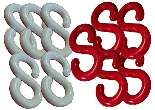 UvV 10 Stück Kettenverbinder, S-Haken zum Einhängen von Plastik-Absperrketten an Absperrpfosten (8 mm, rot/weiß)