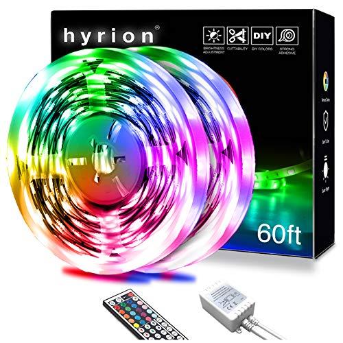 hyrion Led Strip Lights 60ft 2 Rolls of 30ft RGB Led Lights Strip Kit with 44 Keys Remote Color Changing Led Lights for Bedroom Home Kitchen Decoration