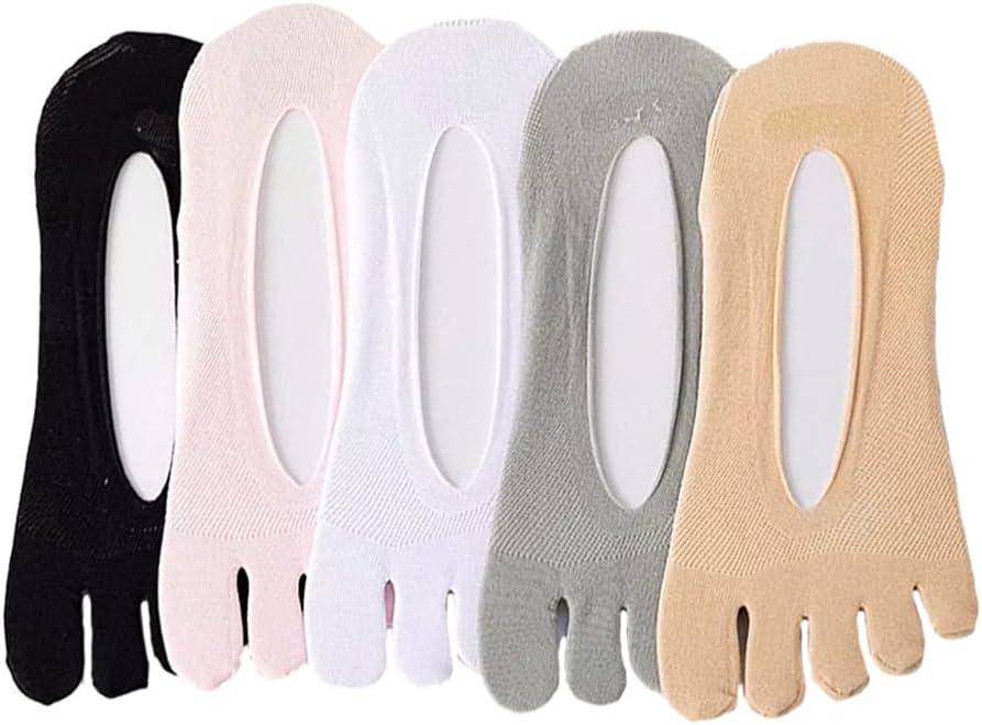 Happyyami 5 Pairs Women Toe Socks No Show Five Finger Socks Low- Cut Liner Socks Five Finger Separated Non- Slip Low- Cut Ankle Liner Socks