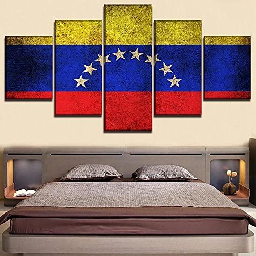 5 Panel Flagge Von Venezuela Modular HD Leinwand Poster Wandkunst Bilder Gemälde Zubehör Wohnkultur Wohnzimmer Dekoration Neujahrsgeschenke