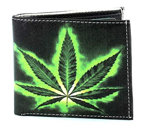 Li Men's Print Vegan Leather Bifold Wallet with Matching Gift Box | Slim Bifold Wallets for Men | 2 ID Windows & 7 Card Holders (Marijuana Leaf)