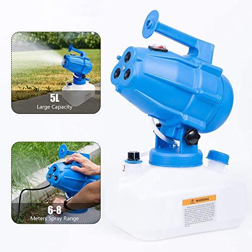 S SMAUTOP Fogger eléctrico ULV 5L, pulverizador de atomizador de Volumen ultrabajo portátil, nebulizador de pesticida con soplador de Niebla Fina, Distancia de pulverización de 8-10 m(1200W)