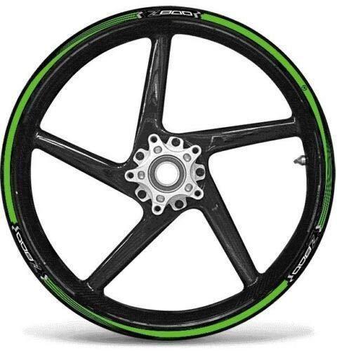 Green Adhesive Strips KIT kompatibel für RÄDER 17 MOTORRÄDER Kawasaki Z800 Tuning