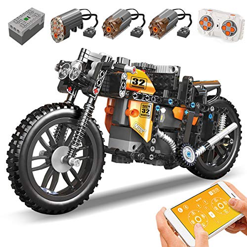 XIAOKEKE Moto Teledirigida Offroad Mountain - Juego De Construcción para Motocicleta, 383 + Piezas De Construcción RC Moto Modelo Stem, Juguete Compatible con Lego Technic