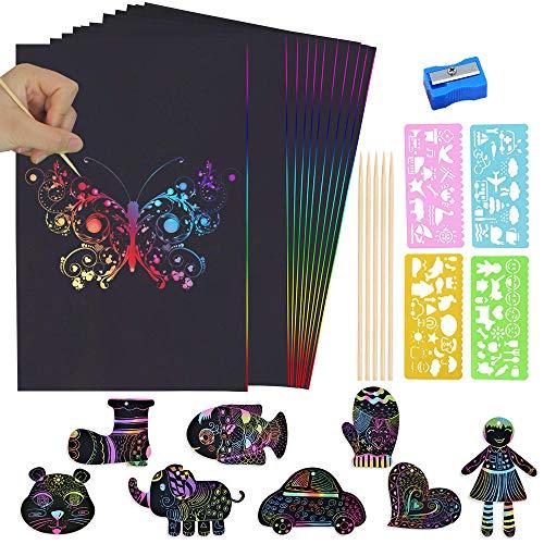 BUZIFU Kratzbilder Set für Kinder, 50 Stück Kratzpapier Große Blätter Regenbogen Kratzpapier Scratch Papier zum Zeichnen und Basteln, mit 4 Schablonen und 5 Holzstiften 1 Anspitzer (26 x 19cm)