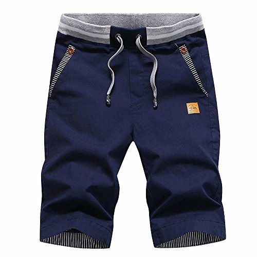 STICKON Men's Shorts Casual Classic Fit Drawstring Summer Beach Shorts with Elastic Waist and Pockets (Navy Blue, US M=2XL)