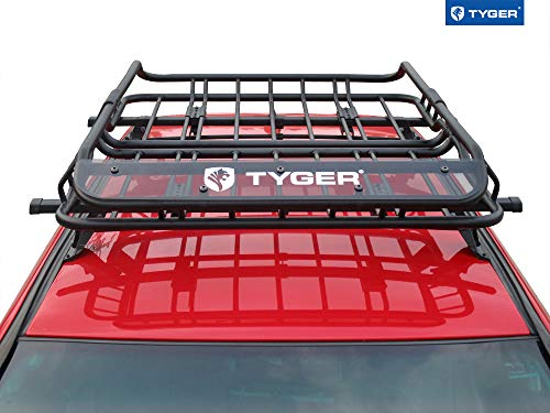 Tyger Heavy Duty Roof Mounted Cargo Basket Rack | L47 x W37 x H6 | Roof Top Luggage Carrier | with Wind Fairing