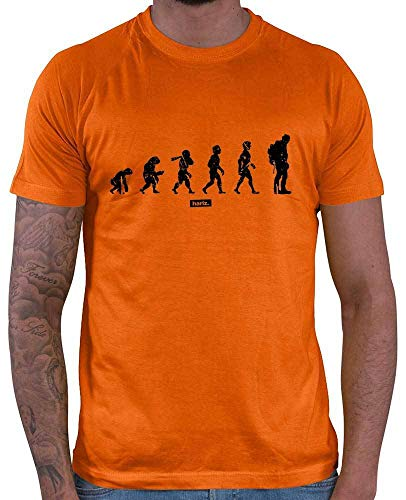 HARIZ Herren T-Shirt Wandern Evolution Urmensch Wandern Klettern Plus Geschenkkarten Orange L
