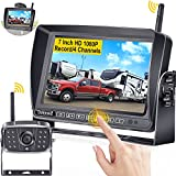 DoHonest S21 Wireless RV Backup Camera HD 1080P, 7'' Touch Key DVR Monitor IR Night Vision High-Speed Observation Rear View Camera Compatible with Furrion Pre-Wired RVs/Trailer/Pickups/Camper/Van