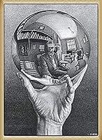 ポスター MC エッシャー 写像球体を持つ手 額装品 ウッドベーシックフレーム(ナチュラル)