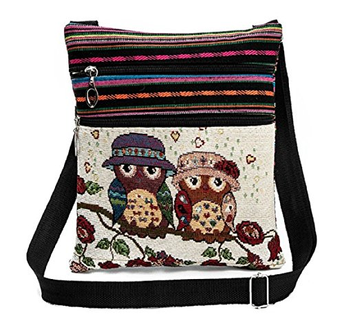 Flache Umhängetasche Schultertasche Stofftasche Tragetasche Messenger Bag für Damen Bestickter Ethno Style Niedliches Eulenmotiv 2 Innenfächer (Behuetete Eulendamen)