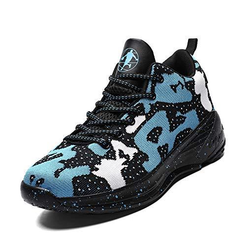 CXQWAN Chaussures de Course pour Homme, Non-Slip Baskets Performance Basketball Shock Chaussures pour intérieur et extérieur Cour Venues en Plastique ou en Cours,Bleu,43