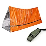 WOWU Emergency Sleeping Bag Lightweight Survival Tent Thermal Bivy Sack Portable Emergency Blanket Survival Gear for Camping, Hiking, Outdoor, Activities,with Survival Whistle
