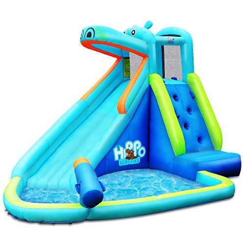DREAMADE Aufblasbarer Wasserpark mit Rutsche, Spielpool für 3 Kidner, aus Oxford-Stoff, Spielburg, Spielhaus, Wasserrutsche für 3-10 Jahre alt Kinder, Mehrfarbig
