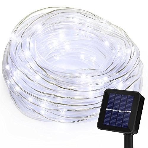 Cadena de Luces GRDE 100 LED Luces Solares 10M (8 modos), Cadena de Luz Flexible Impermeable IP65 Ultra Brillante Con Panel Solar Para Bodas, Patios, Jardín y Decoración (Luz Blanca)