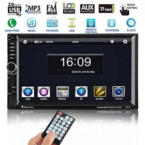 LESHP 7''HD In Dash Touchscreen Car Stereo Video Player ,with GPS Sat Nav,built-in Bluetooth + Microphone