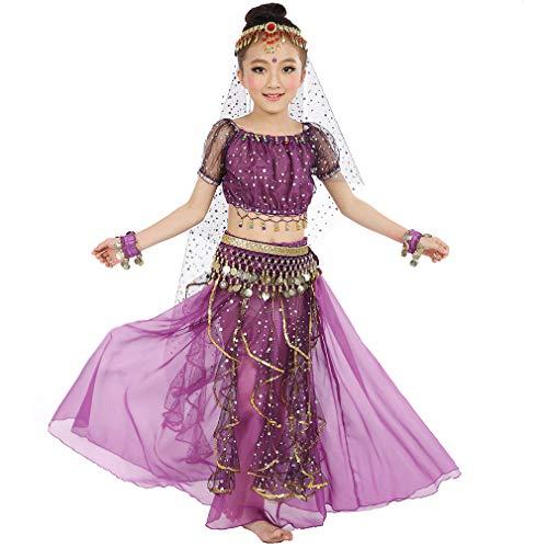 Magogo Mädchen Bauchtanz Kostüm Geburtstagsparty Kostüm, Kinder Cosplay Arabische Prinzessin Dancewear Glänzende Karneval Outfit (L, Lila)