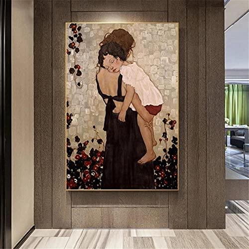 5D DIY Pintura de Diamante de Kits Madre hijo Completo Crystal Rhinestone Adulto Sniño de Punto de Cruz Embroidery Art Decoración de la Pared del Hogar Diamond Painting Regalo Square Drill 60x90cm